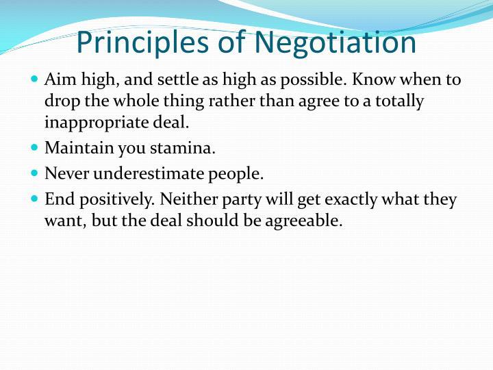 Principles of Negotiation