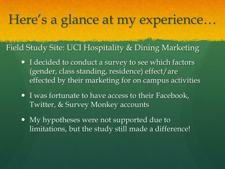 Field Study Site: UCI Hospitality & Dining Marketing