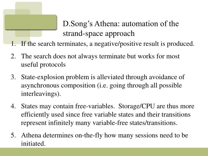 D.Song's Athena: automation of the strand-space approach