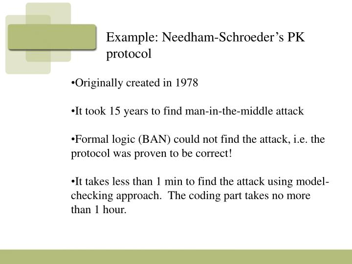 Example: Needham-Schroeder's PK protocol