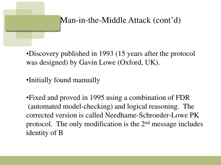 Man-in-the-Middle Attack (cont'd)