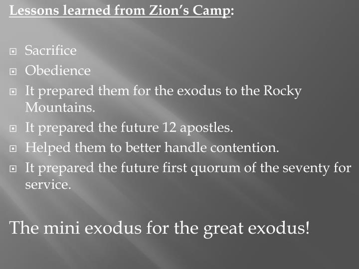 Lessons learned from Zion's Camp