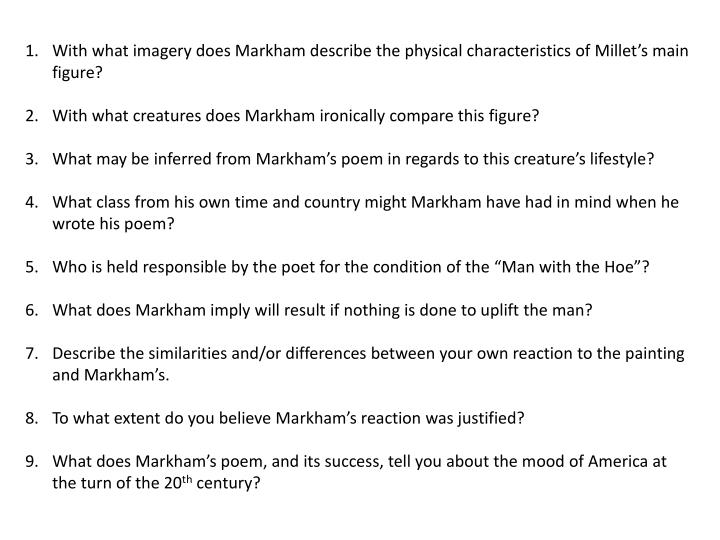 With what imagery does Markham describe the physical characteristics of Millet's main figure?