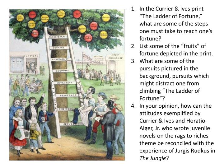 "In the Currier & Ives print ""The Ladder of Fortune,"" what are some of the steps one must take to reach one's fortune?"