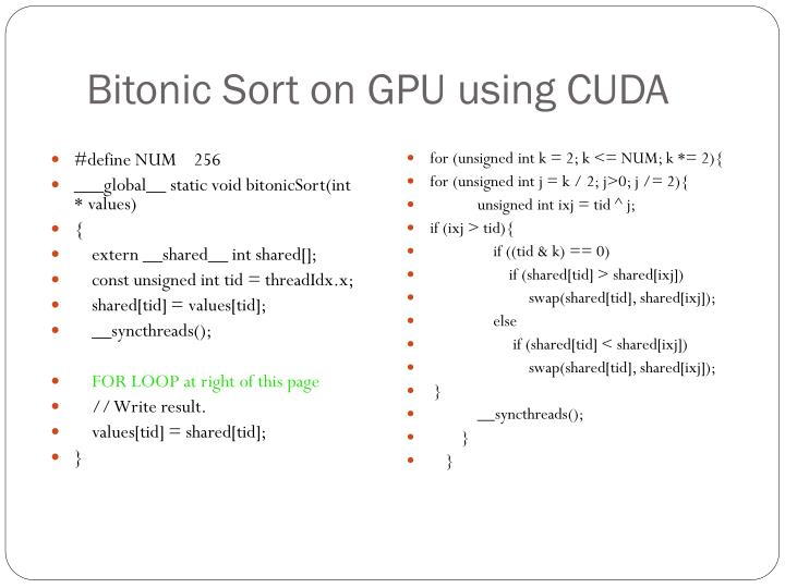 Bitonic Sort on GPU using CUDA