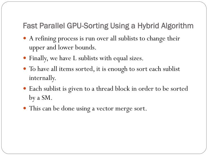Fast Parallel GPU-Sorting Using a Hybrid Algorithm