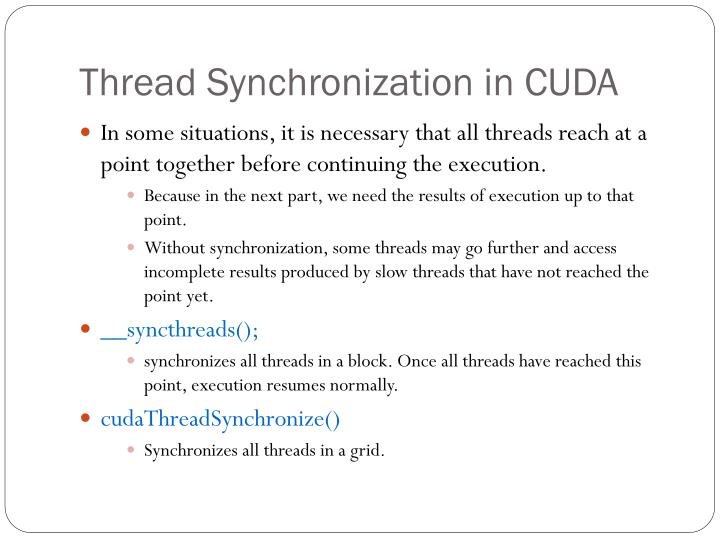Thread Synchronization in CUDA