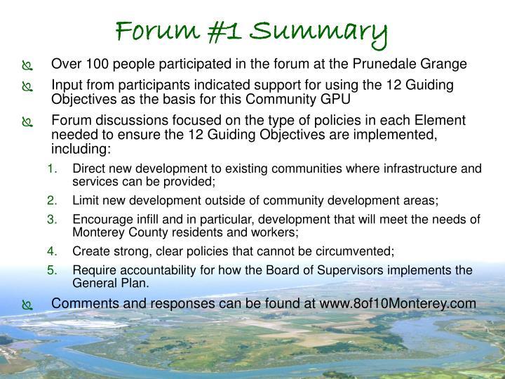Forum #1 Summary