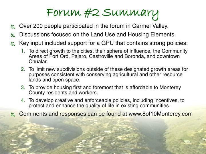 Forum #2 Summary