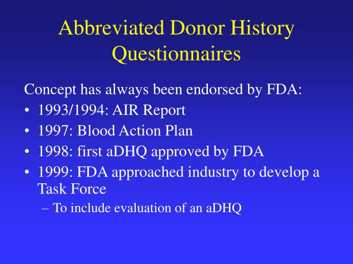 Abbreviated Donor History Questionnaires
