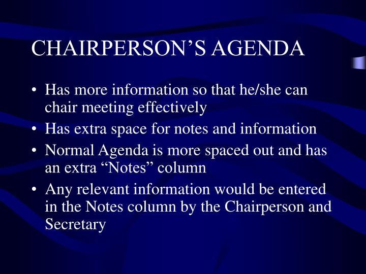 CHAIRPERSON'S AGENDA