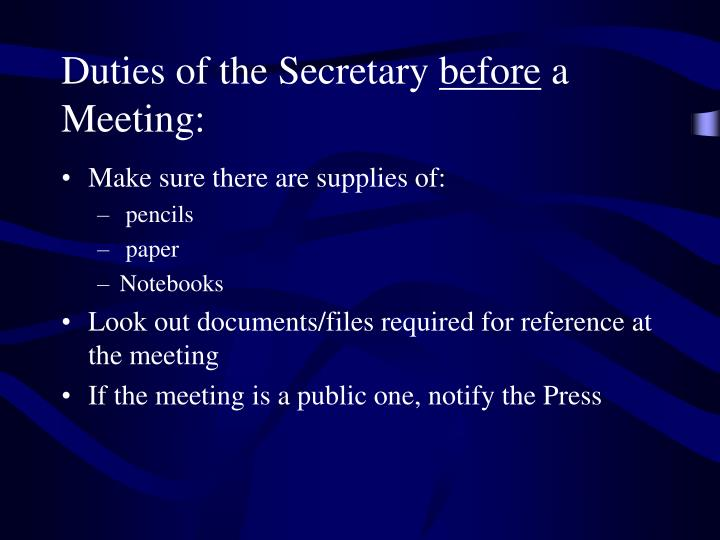 Duties of the Secretary