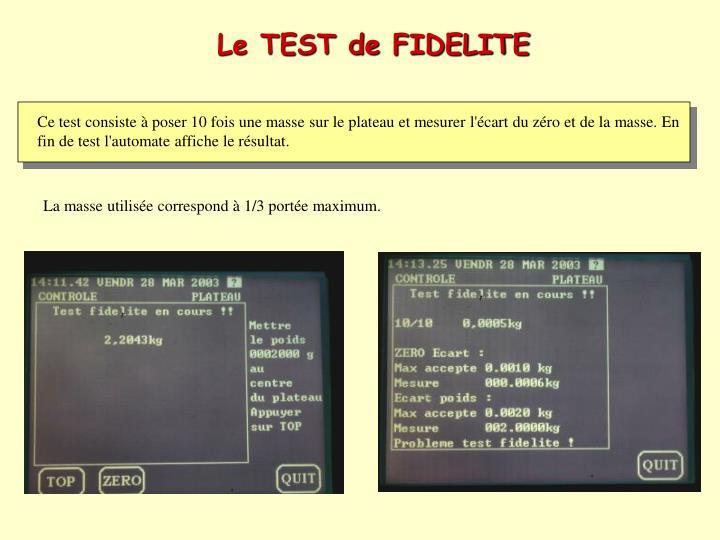 Le TEST de FIDELITE