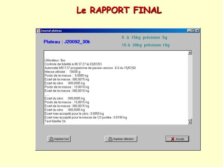 Le RAPPORT FINAL