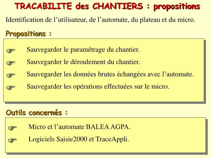 TRACABILITE des CHANTIERS : propositions