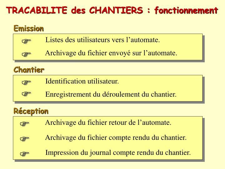 TRACABILITE des CHANTIERS : fonctionnement