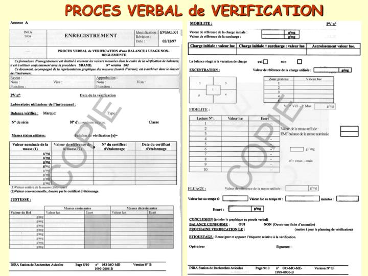 PROCES VERBAL de VERIFICATION