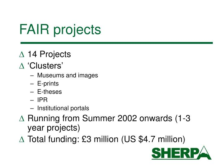 FAIR projects