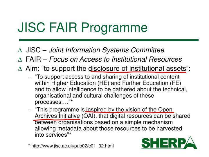 JISC FAIR Programme