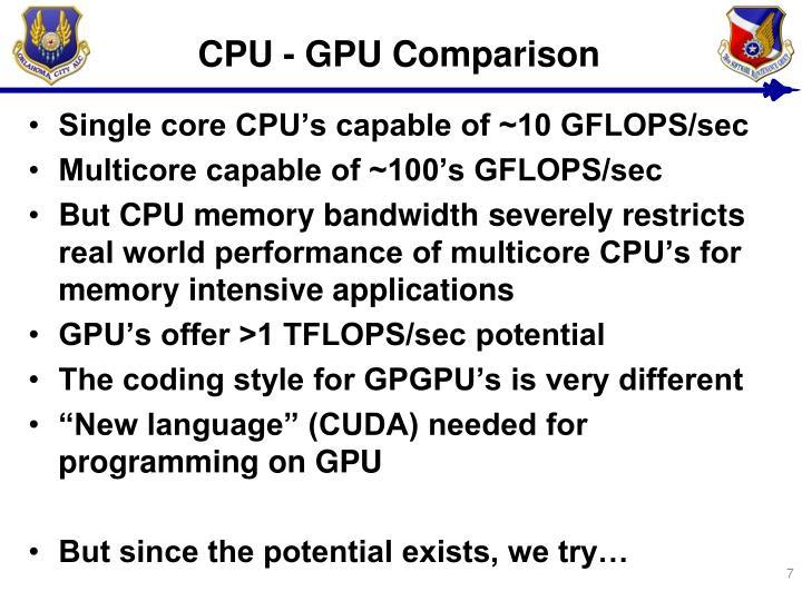 CPU - GPU Comparison
