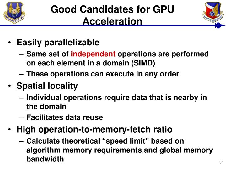 Good Candidates for GPU Acceleration