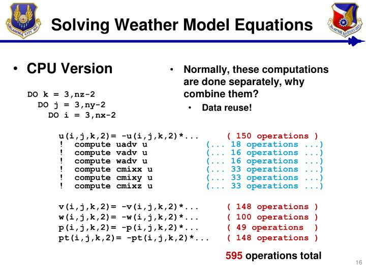 Solving Weather Model Equations