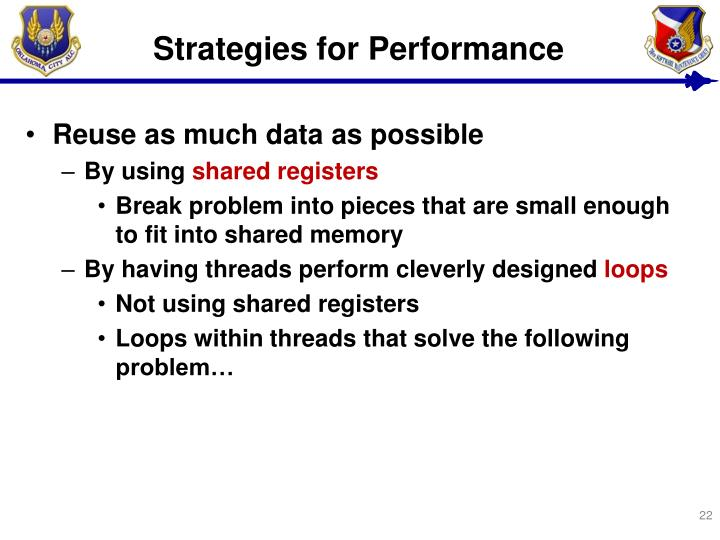 Strategies for Performance