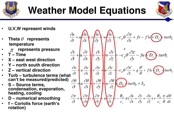 Weather Model Equations