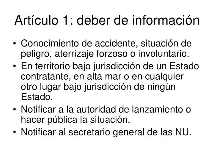 Artículo 1: deber de información