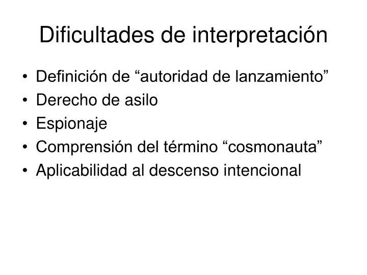 Dificultades de interpretación
