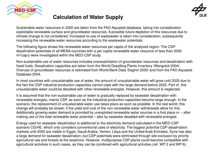 Calculation of Water Supply