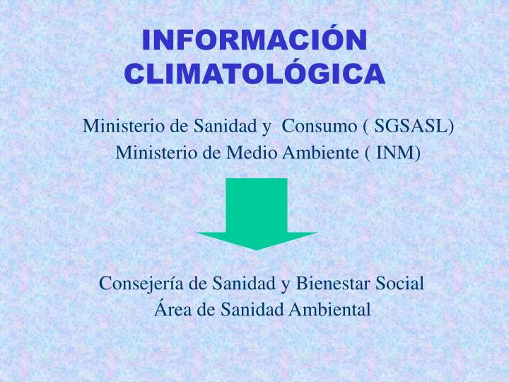 INFORMACIÓN CLIMATOLÓGICA