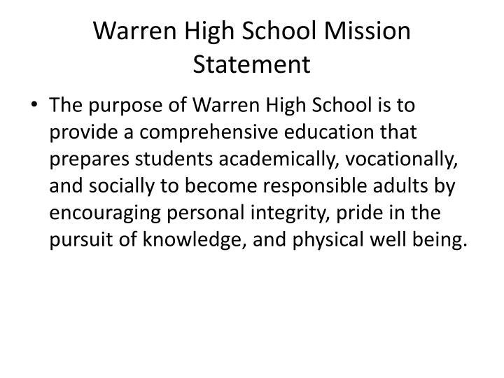 Warren High School Mission Statement