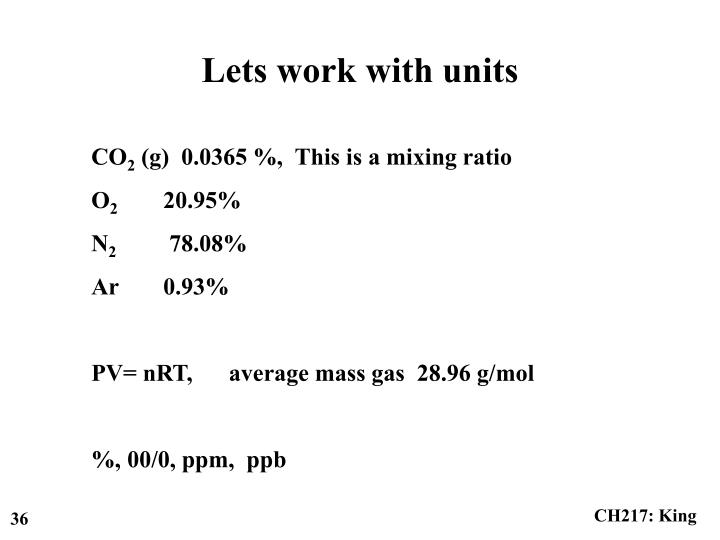 Lets work with units