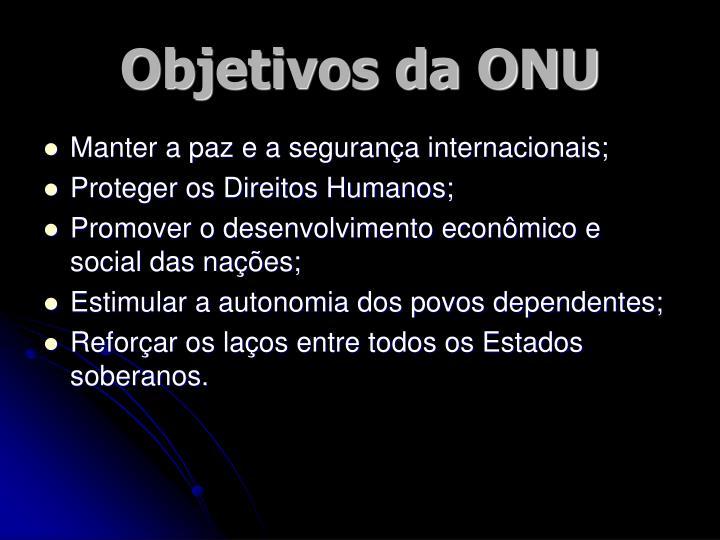 Objetivos da ONU