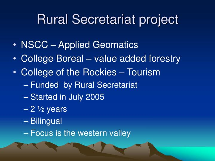 Rural Secretariat project