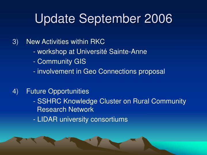 Update September 2006