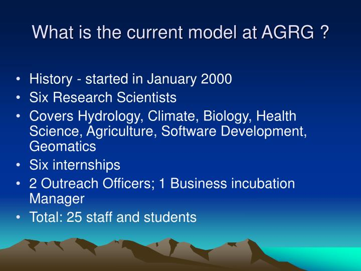 What is the current model at AGRG ?
