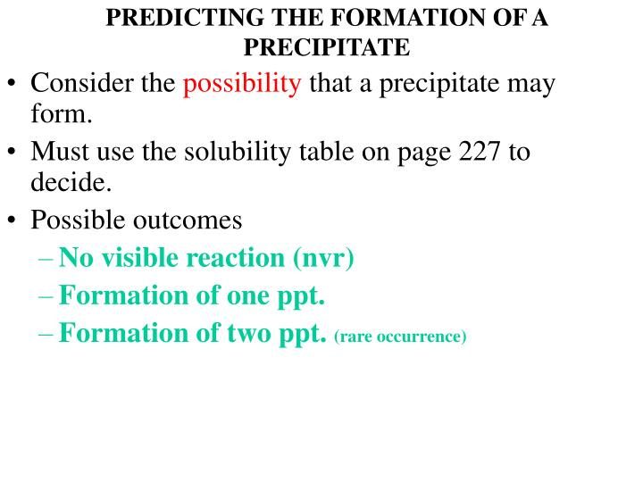 PREDICTING THE FORMATION OF A PRECIPITATE