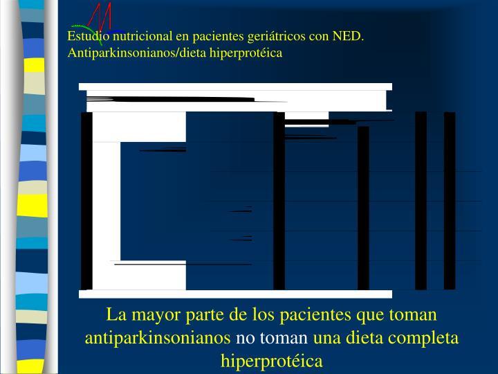 Estudio nutricional en pacientes geriátricos con NED. Antiparkinsonianos/dieta hiperprotéica