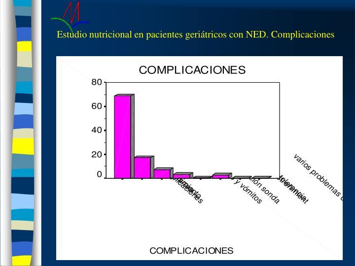 Estudio nutricional en pacientes geriátricos con NED. Complicaciones