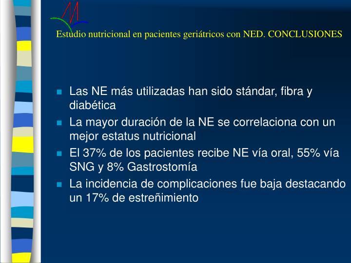 Estudio nutricional en pacientes geriátricos con NED. CONCLUSIONES
