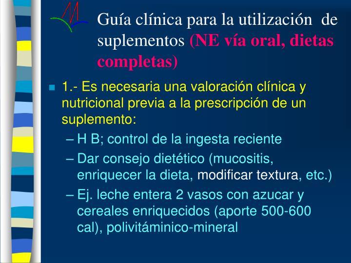 Guía clínica para la utilización  de suplementos