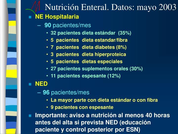 Nutrición Enteral. Datos: mayo 2003