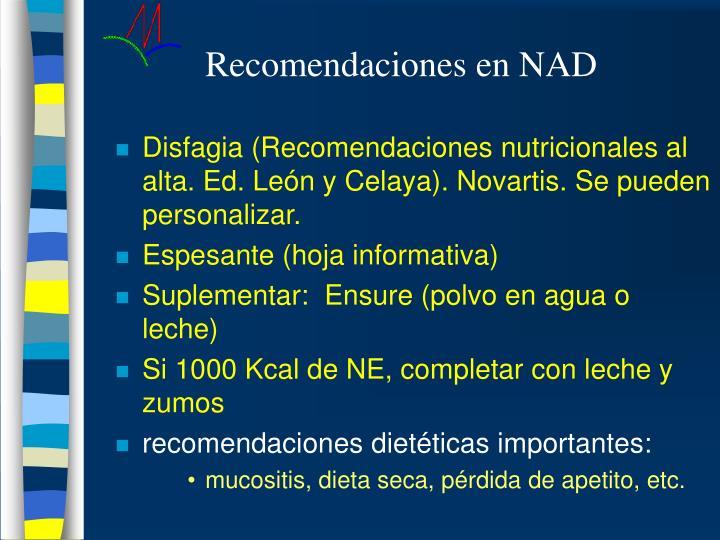 Recomendaciones en NAD