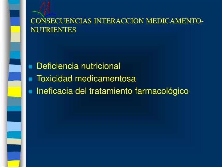 CONSECUENCIAS INTERACCION MEDICAMENTO-NUTRIENTES