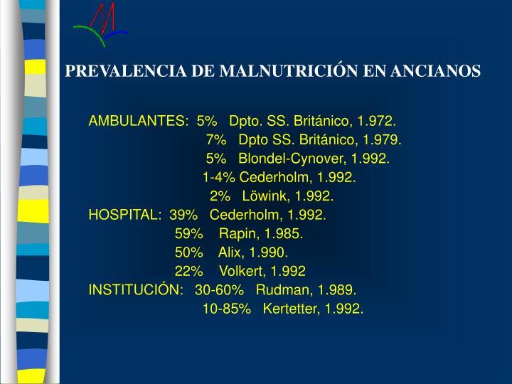 PREVALENCIA DE MALNUTRICIÓN EN ANCIANOS
