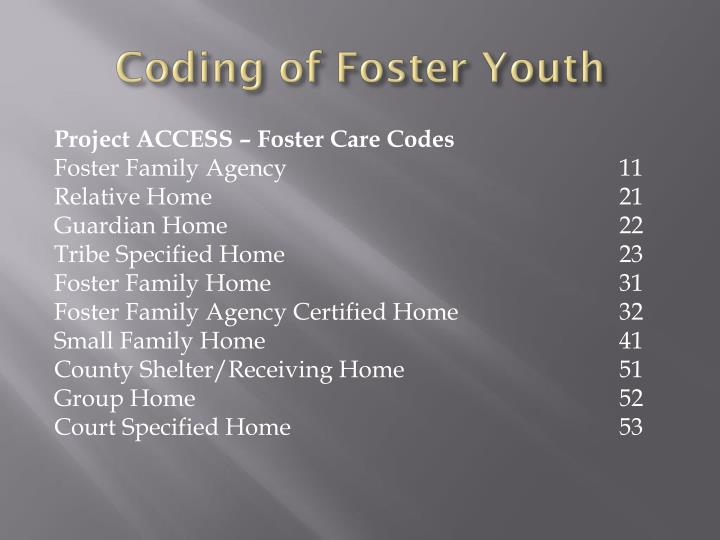 Coding of Foster Youth