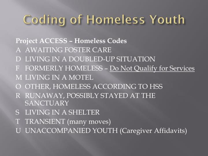 Coding of Homeless Youth