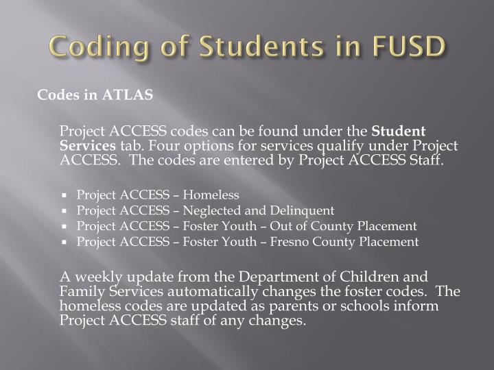 Coding of Students in FUSD